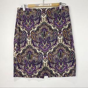 J. Crew the pencil skirt paisley pattern